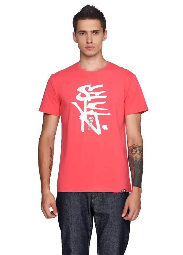 Halftoned White T-Shirt Coral