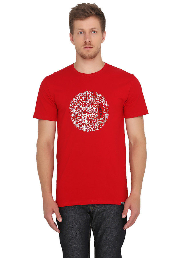 Pattern Circle White T-Shirt / Red