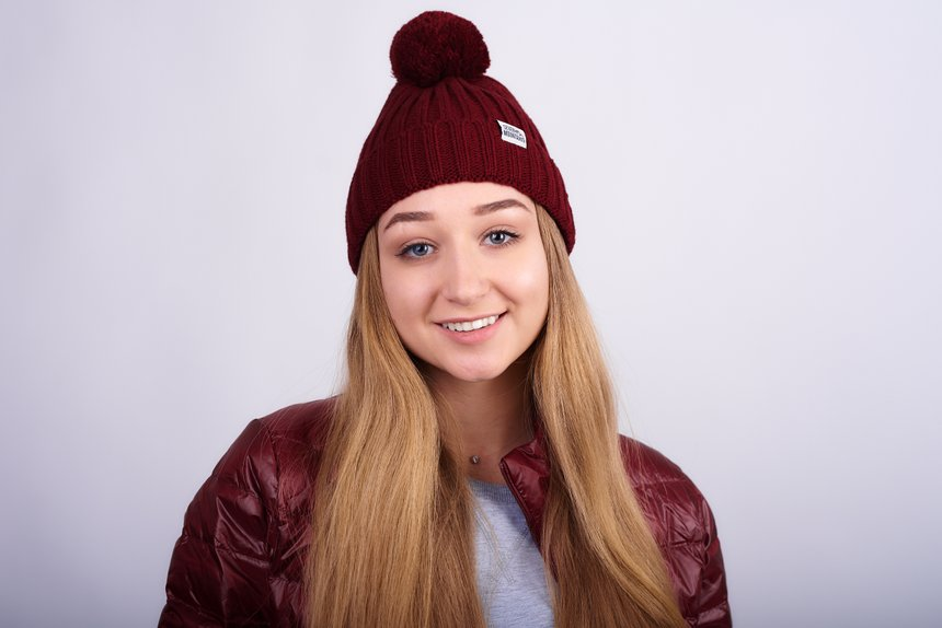 Pom Hat , Burgundy, one size