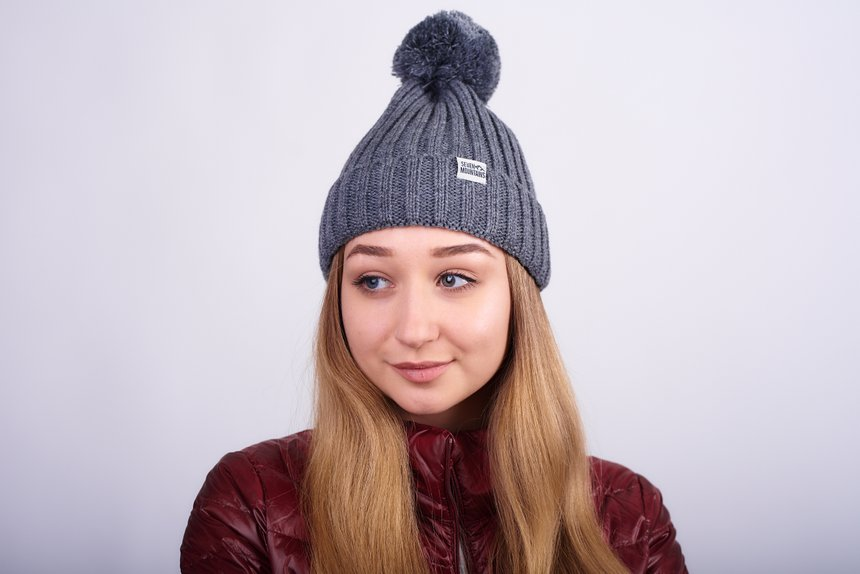 Pom Hat , grey, one size