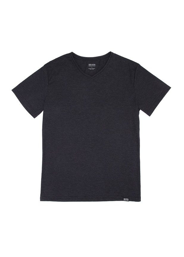 Basic T-Shirt V-neck, Dark grey, S