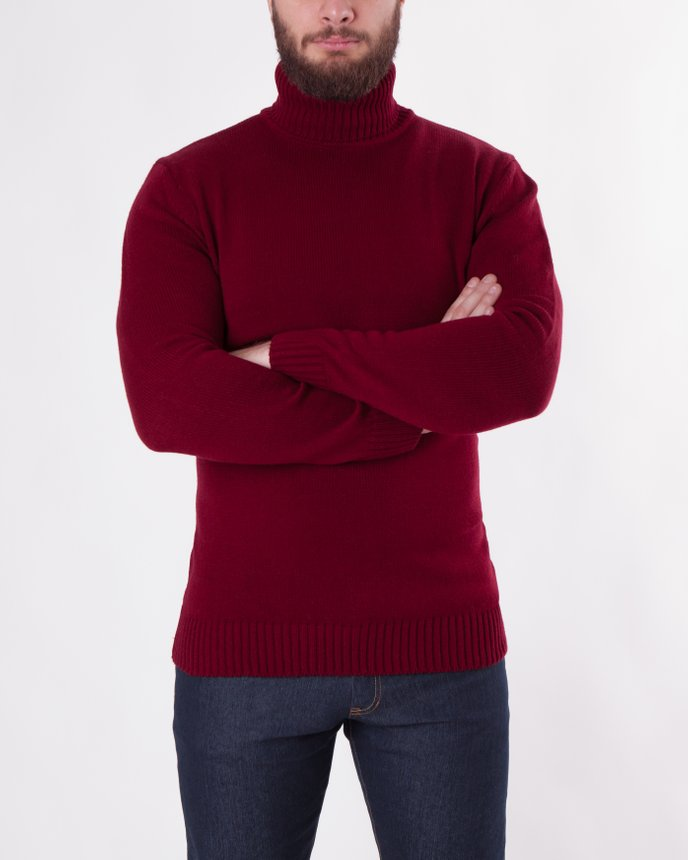 Roll Neck Knit / Burgundy