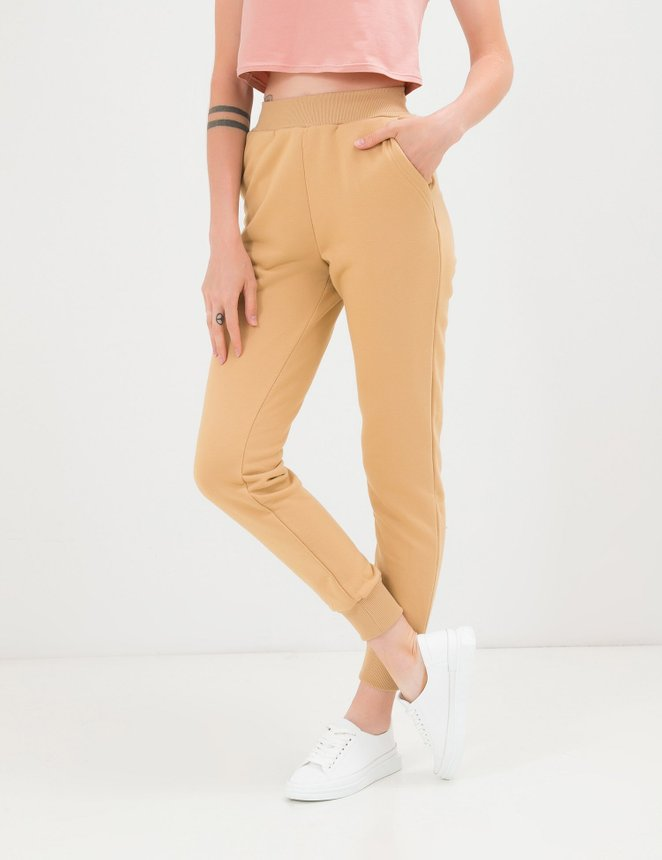 Ribbed joggers, beige, XS/S