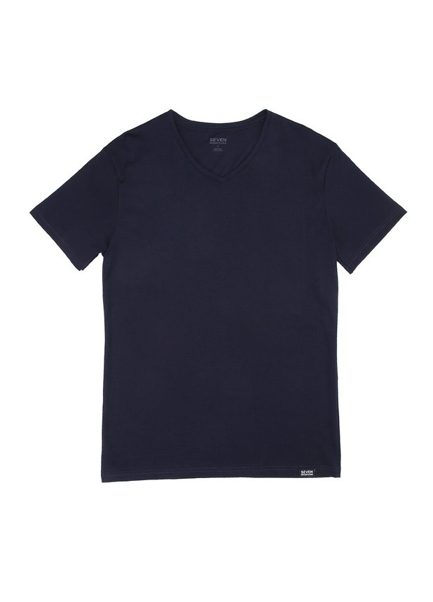 Basic T-Shirt V-neck, Navy, S