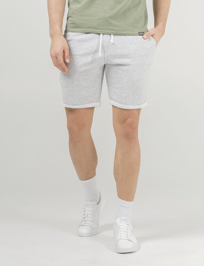 Knit shorts, Grey melange, L/XL