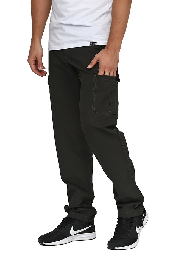 Cotton Cargo Pants / forest green, Forest green, S