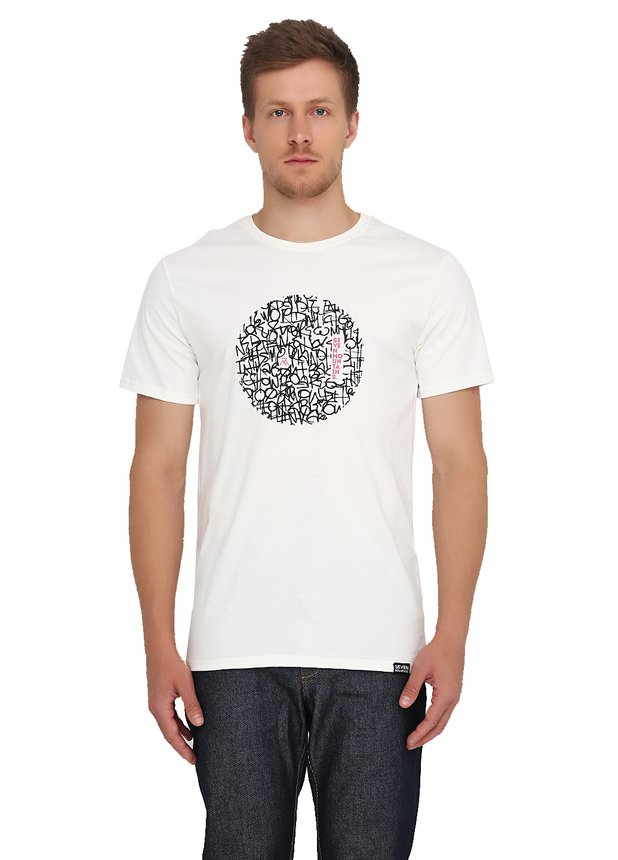 Pattern Circle Black T-Shirt / Milk