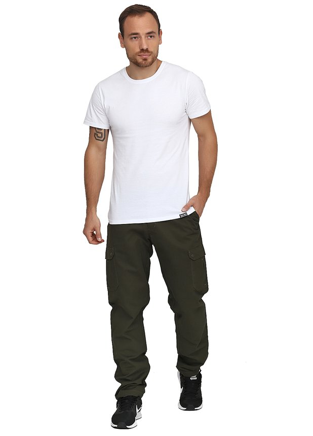 Cotton Cargo Pants / khaki, Khaki, S