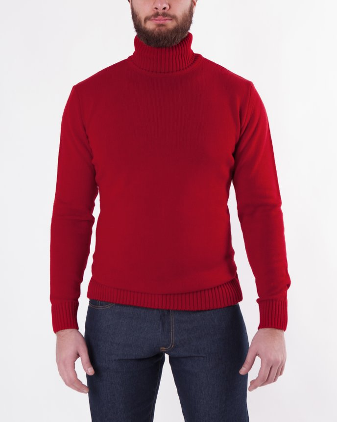 Roll Neck Knit / Red, Red, XL