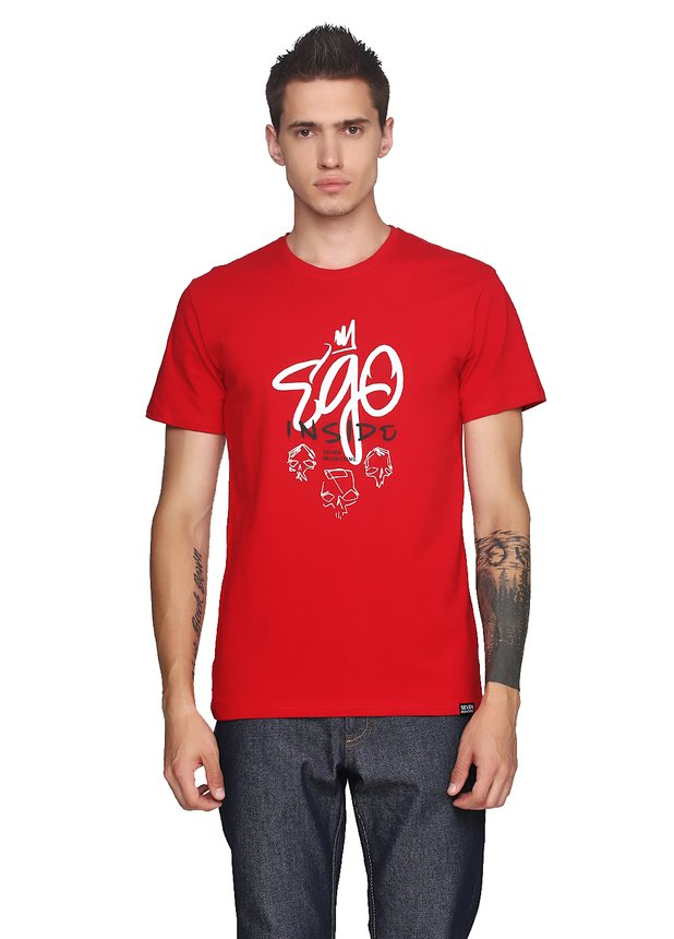 Ego Inside White T-Shirt Red