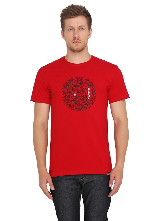 Pattern Circle Black T-Shirt / Red