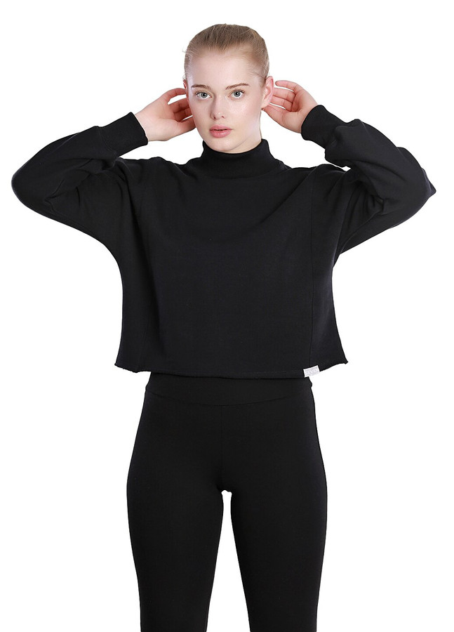 High neck cropped sweatshirt, Black, XS/S