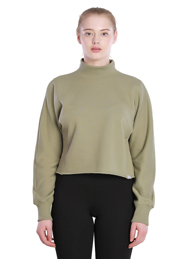 High neck cropped sweatshirt, Khaki, XS/S