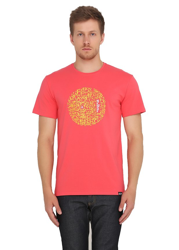 Pattern Circle Lime T-Shirt / Coral
