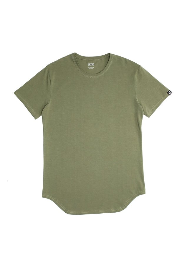 Elongated T-shirt, Khaki, S