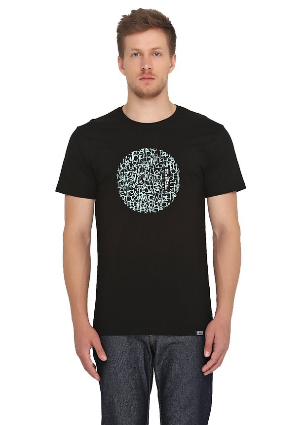 Pattern Circle Mint T-Shirt / Black