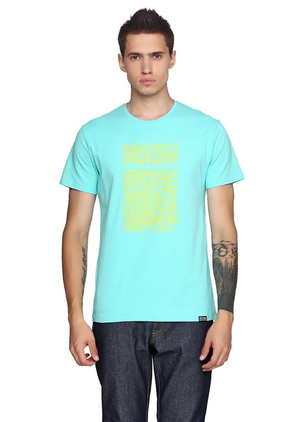 Graffity Wall Lime T-Shirt / Coral, Lime-Mint, XL