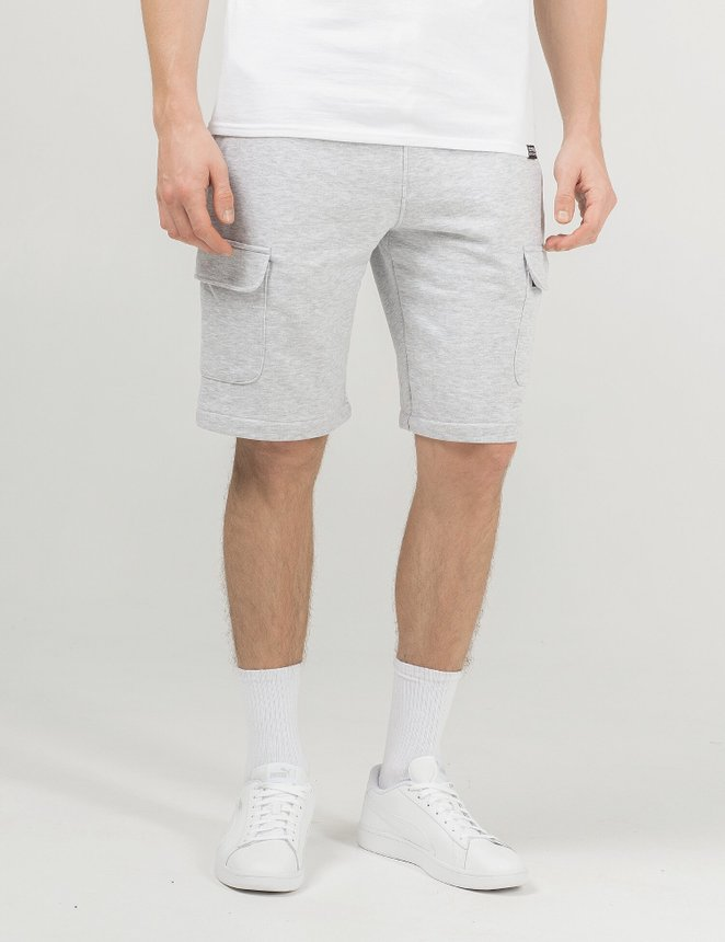 Knit cargo shorts, Grey melange, S/M