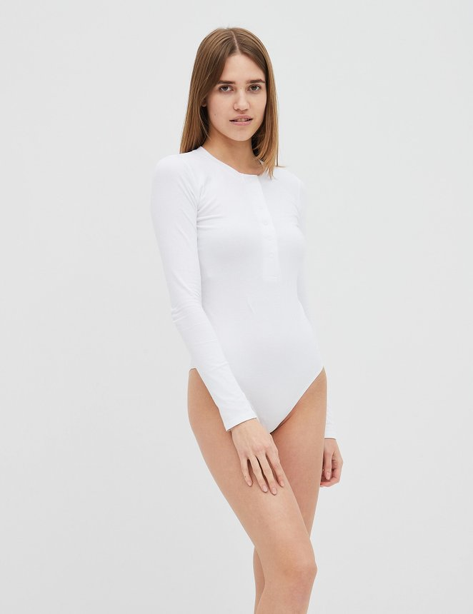 Button bodysuit, Білий, S