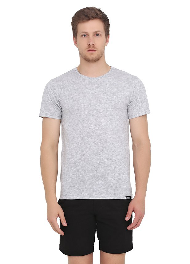 Basic T-Shirt , Grey melange, M