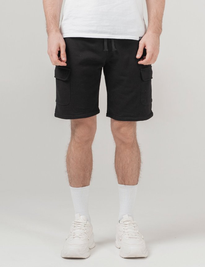 Knit cargo shorts, Black, S/M