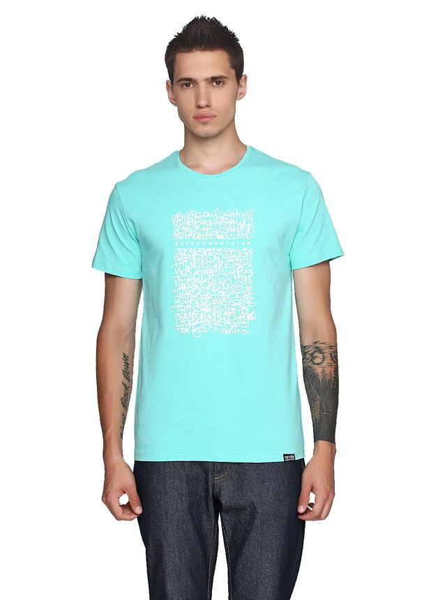 Graffity Wall Lime T-Shirt / Coral, White-Mint, S