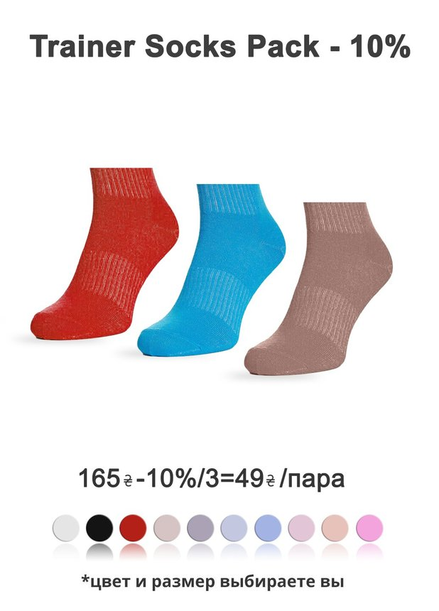 WOMEN'S Trainer socks pack, Pack 3-10%, 36-38