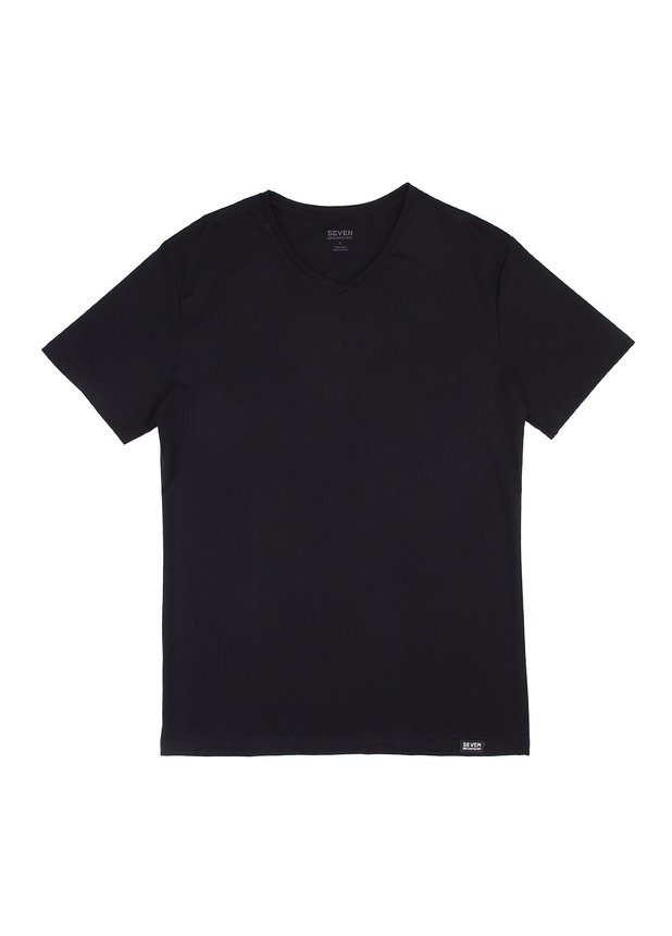 Basic T-Shirt V-neck, Черный, S