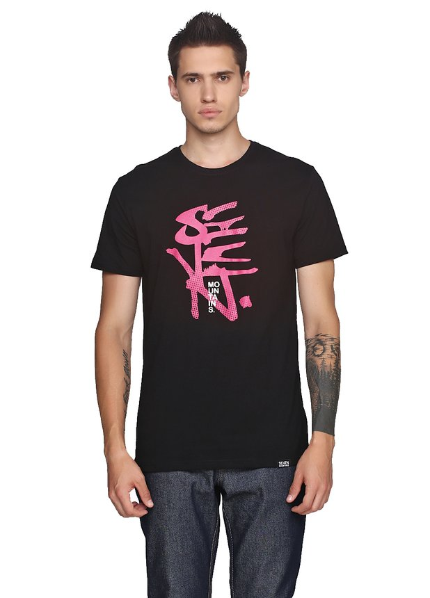 Halftoned Dote Pink T-Shirt Black